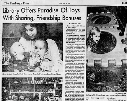 Old news article, headline reads Library Offers Paradise of Toys with Sharing, Friendship Bonuses