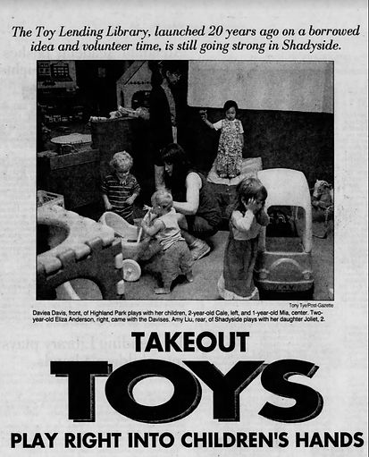 Old news article, headline reads Takeout Toys Play Right into Children's Hands
