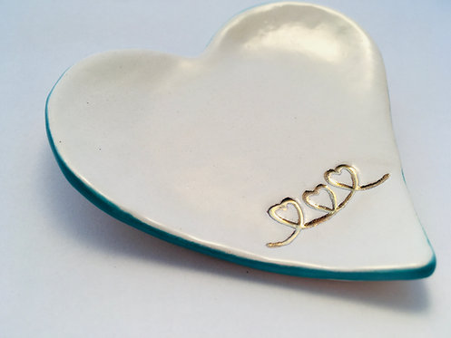 Heart Dish with 24ct Gold lustre