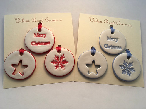 Set of 3 Small Round Christmas Decorations