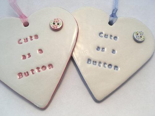 Cute as a Button Heart Hanger