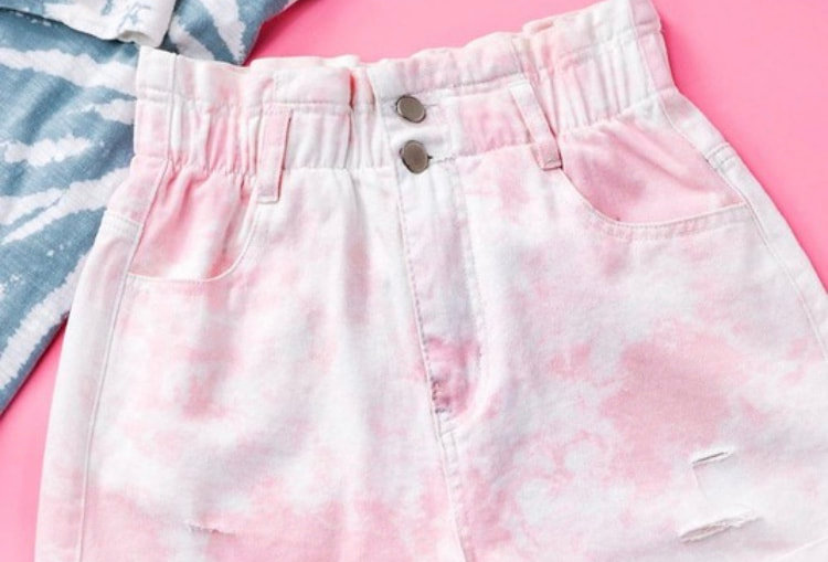 Pink/White Denim Shorts