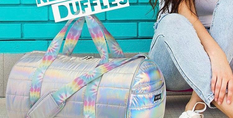 Iridescent Duffle with Neon Tie Dye Straps