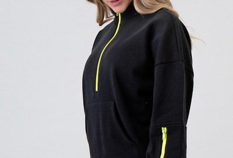 Black Sweatshirt with Neon Green Zip