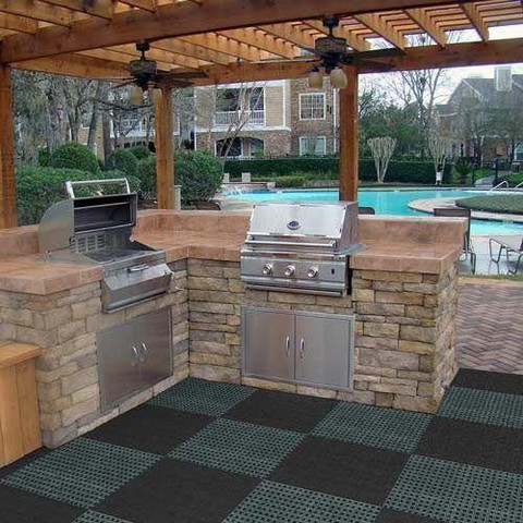 Outdoor Entertainment Area Remodel with Grill and Stone