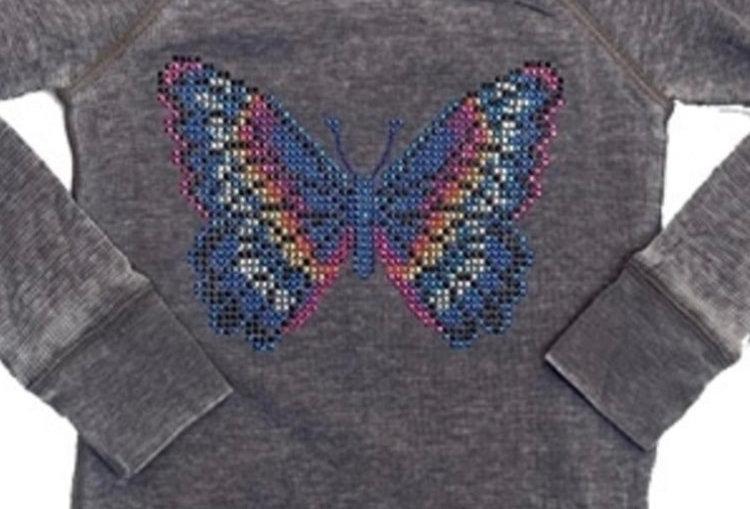 Pixie Butterfly Stones Long Sleeve Thermal Raglan w/thumbholes