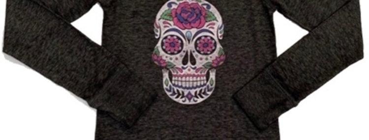 Flower Skull Long Sleeve Jersey Raglan with Thumbholes