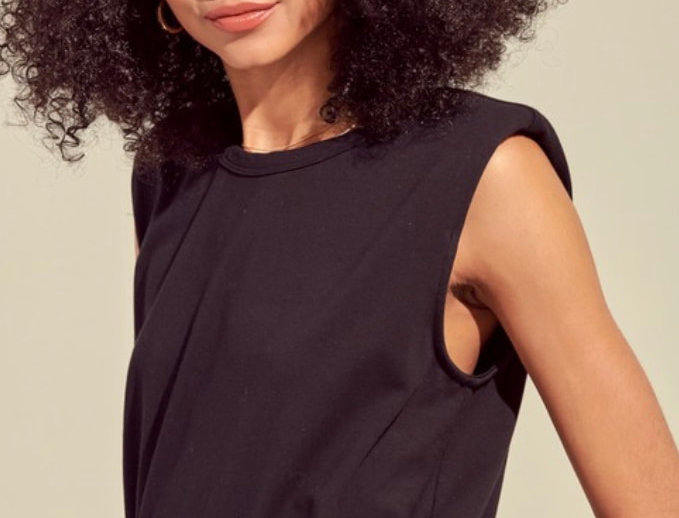 Black Sleeveless with Shoulder Pad