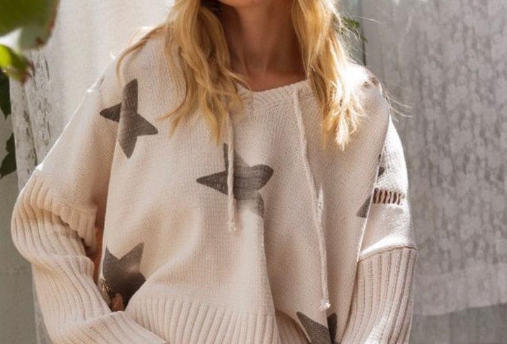 Almond Black Star Sweater