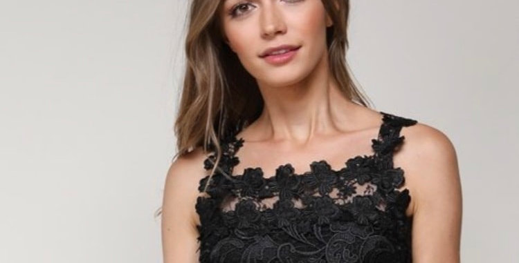 Black Fancy Lace Crop Top