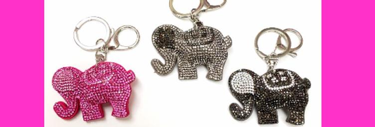Crystal Elephant Keychain