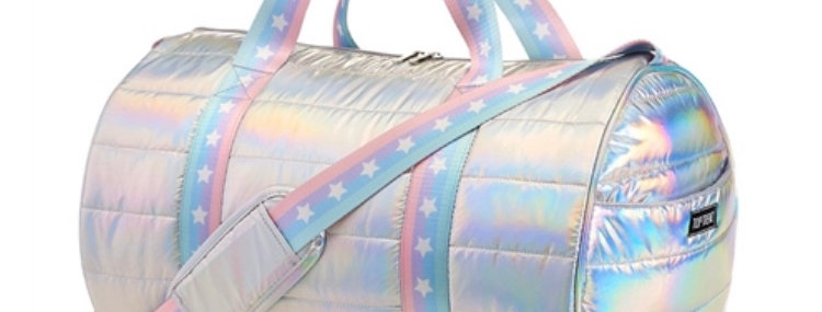 Silver Metallic Duffle Bag