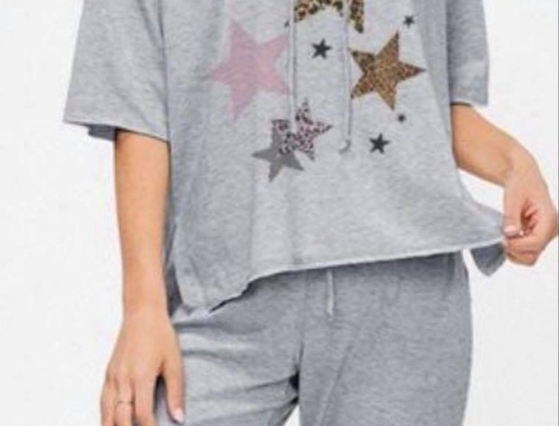 Gray with Leopard Star Jogger Set