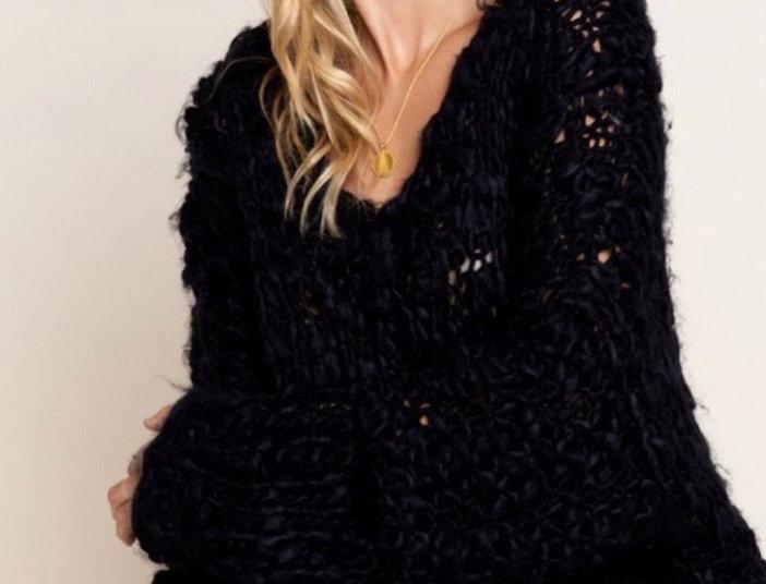 Soft Black V Sweater