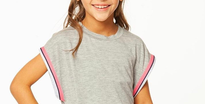 Gray Sleeveless Top with Ribbon Arms