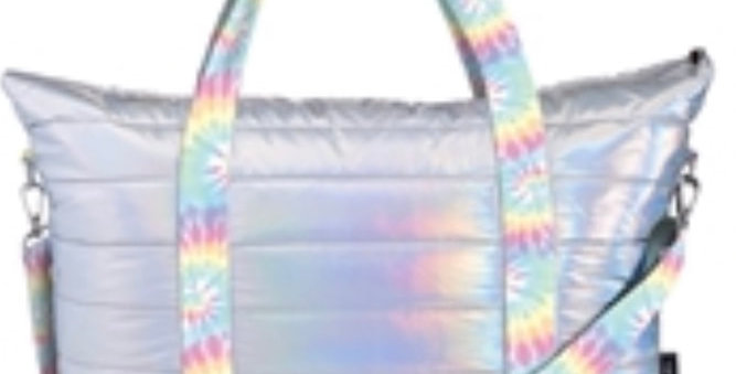 Iridescent Puffer Tote with Tie Dye Straps
