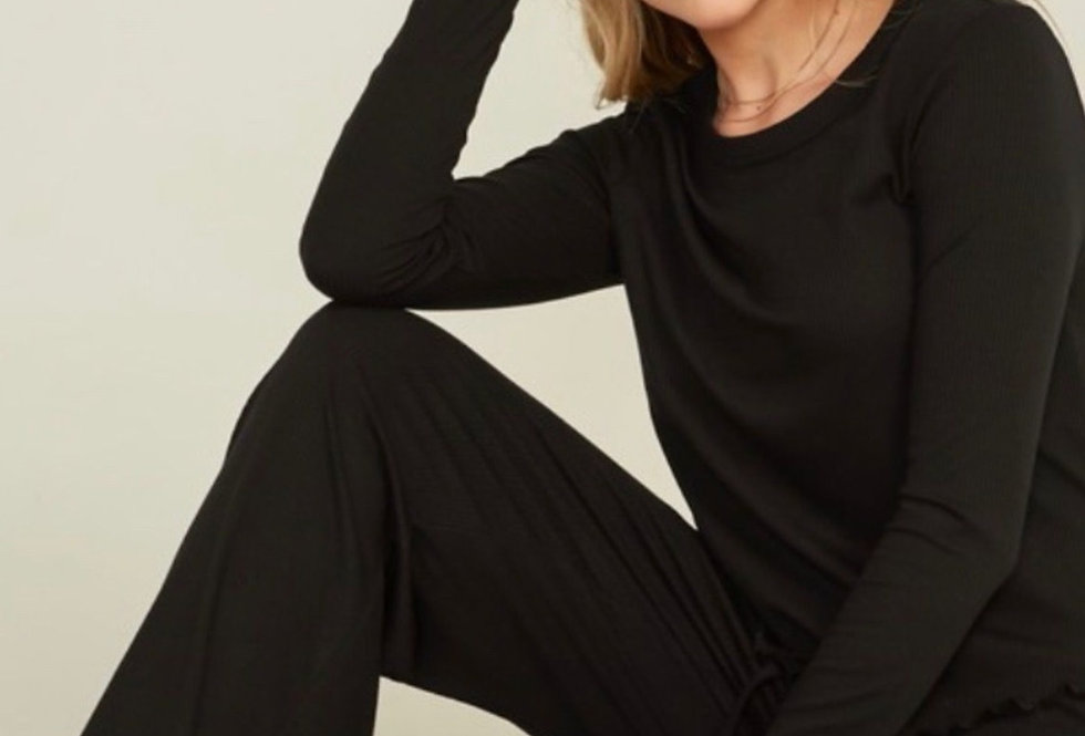 Black Long Sleeve Pants Set