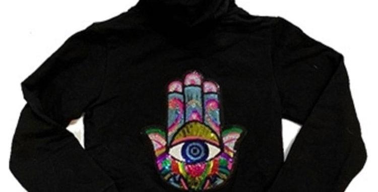 Black Zip Hoodie w/ Multi Hamsa Patch