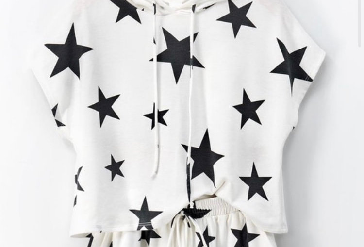 Ivory/Black Stars Graphic Hoodie/Shorts Set