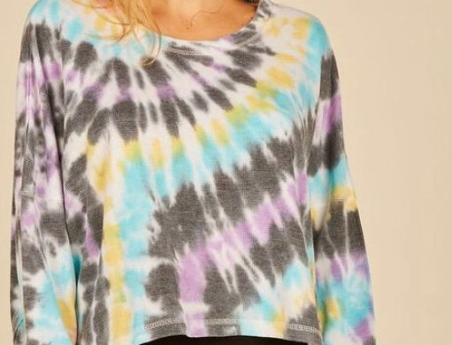 Vintage Havana Multi Swirl Tie Dye Reverse Burnout Thermal Top