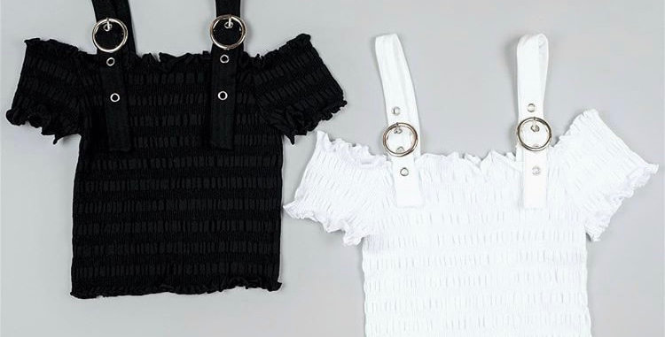 Ruched Short Sleeve Top with Buckle