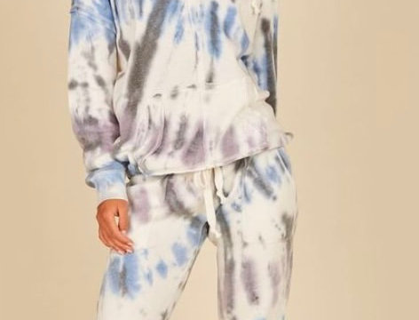 Vintage Havana Diagonal Seaside Tie Dye Hoodie and Jogger Set