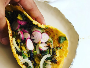Indian Style Chickpea Tacos with stir fried Brussels Sprouts and spiced Onions and Radish- #glutenfr