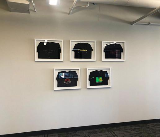 Client design shirts, custom framed