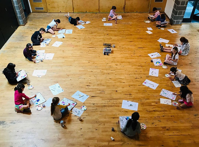 group of children sitting on the floor in a circle, working on paintings