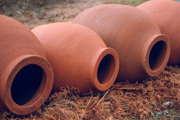 Georgian traditional jugs kvevri for wine, outdoor..jpg