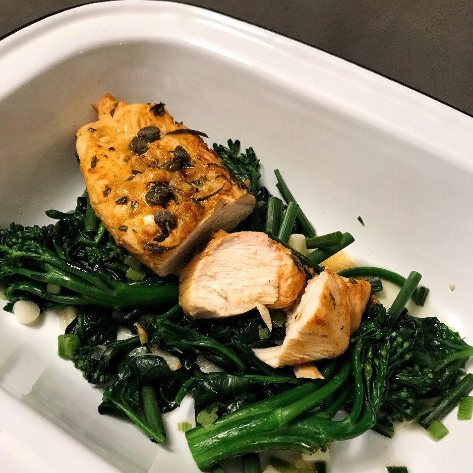 Rosemary Chicken and Mixed Leafy Greens