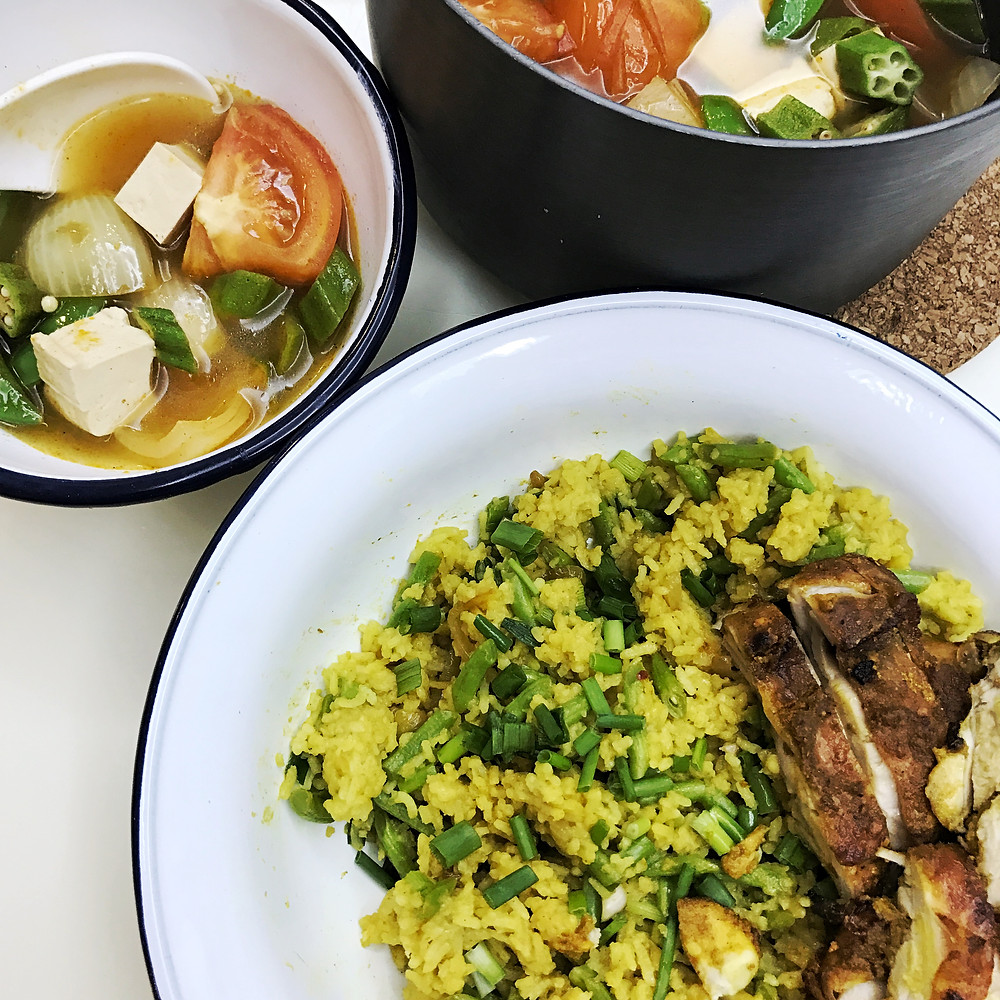 Turmeric Chicken Rice and Tom Yam Soup