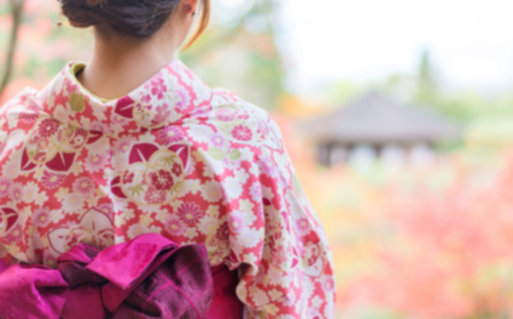 Back of a pretty Japanese girl in beauti