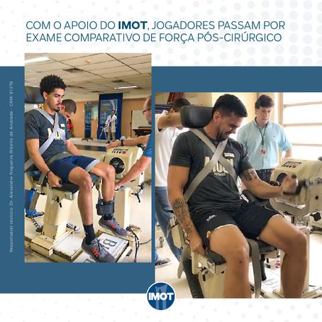 Com o apoio do Imot, jogadores passam por exame comparativo de força pós-cirúrgico.