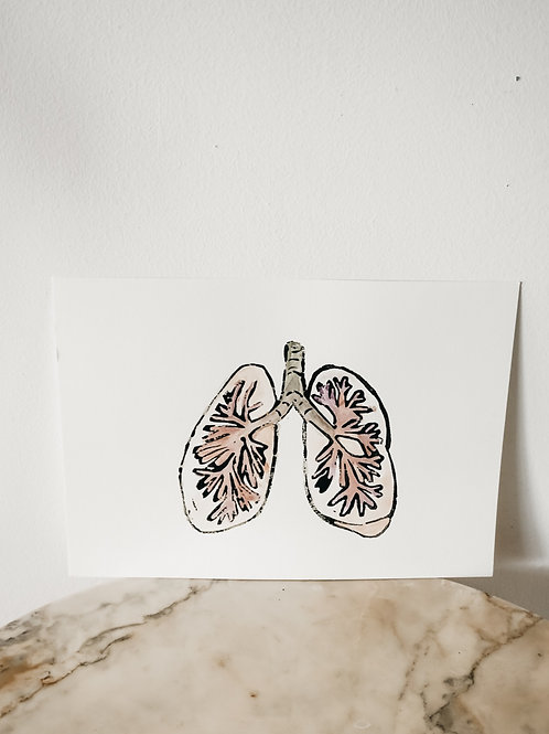 Lung, Watercolor X Linoleum, original-print on paper, limited