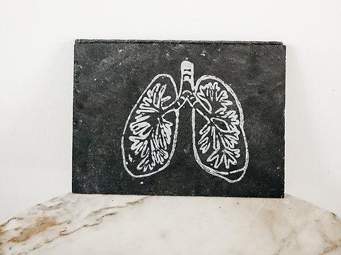 Lung, Linoleum X Slate, original-print on slate, limited