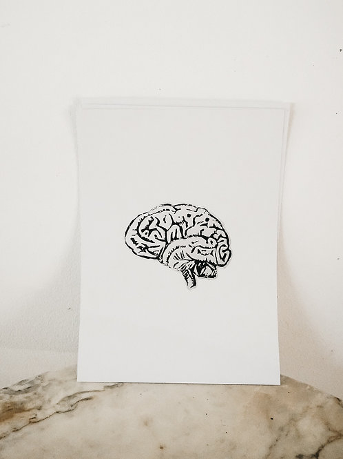 (PRINT) Brain, Linoleum X Pure, art-print on premium-paper, limited