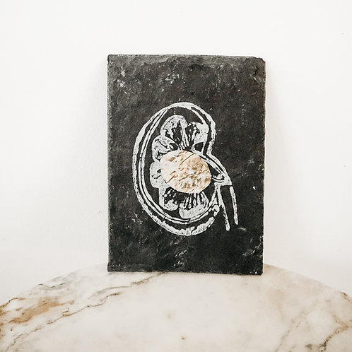Kidney, Metallic X Linoleum X Slate, original-print on slate, limited