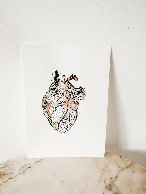 Heart, Watercolor X Linoleum, original-print on paper, limited