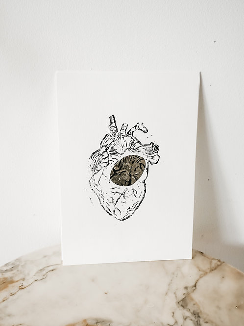 Heart, Metallic X Linoleum, original-print on paper, limited