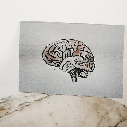 (PRINT) Brain, Linoleum X Watercolor, art-print on premium-paper, limited
