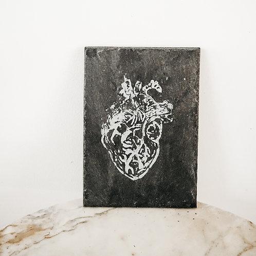 Heart, Linoleum X Slate, art-print on slate, limited