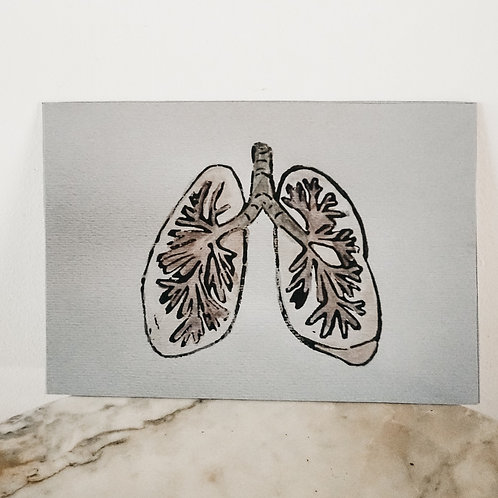 (PRINT) Lung, Linoleum X Watercolor, art-print on premium paper, limited