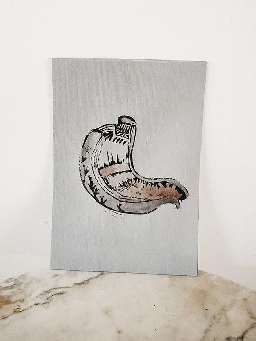 (PRINT) Stomach, Linoleum X Watercolor, art-print on premium-paper, limited