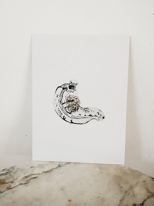 (PRINT)[intoxication] Stomach, Linoleum X Metallic, art-print on paper, limited
