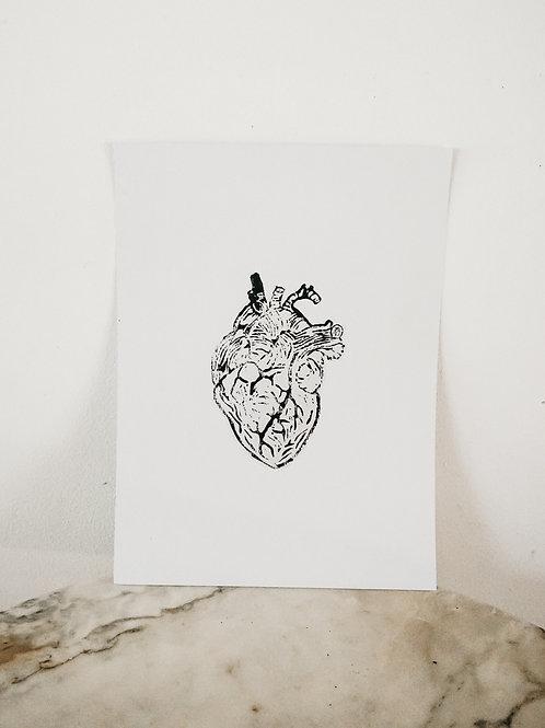(PRINT) Heart, Linoleum X Pure, art-print on premium-paper, limited