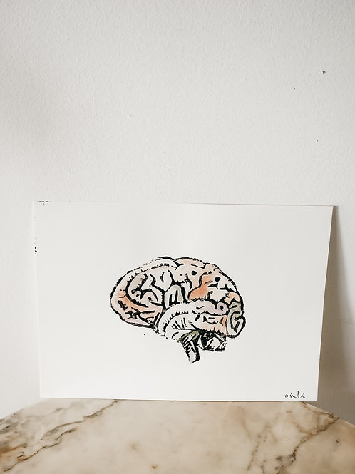 Brain, Watercolor X Linoleum, original-print on paper, limited