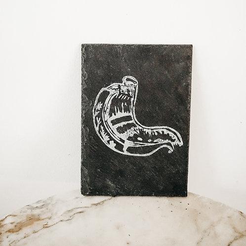 Stomach, Linoleum X Slate, art-print on slate, limited