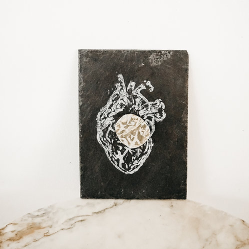 Heart, Metallic X Linoleum X Slate, original-print on slate, limited