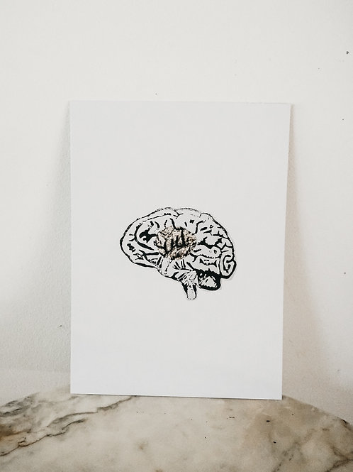 (PRINT)[intoxication]Brain, Linoleum X Metallic, art-print on paper, limited